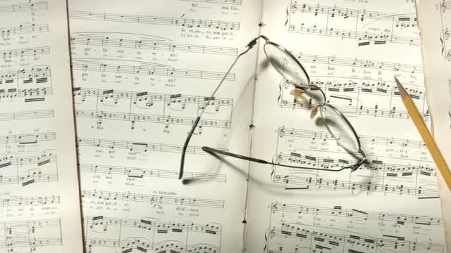 Musical Notes And Pencil: Stock Video