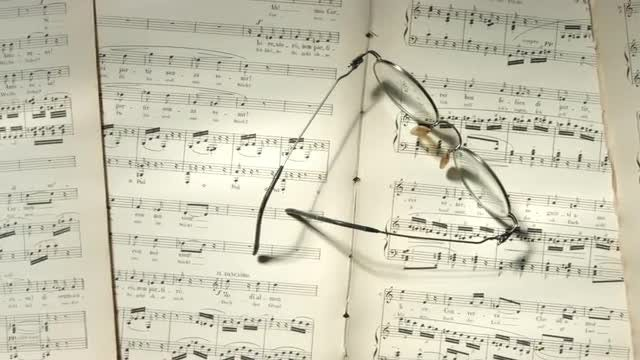 Eyeglasses On Musical Notes: Stock Video