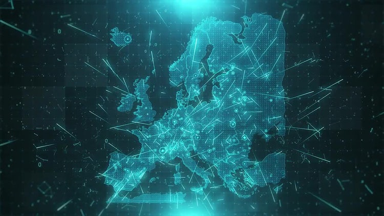 Europe Map Background Cities Connections 4K: Stock Motion Graphics