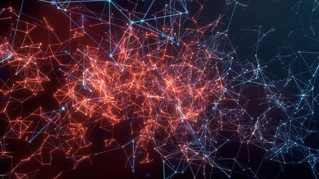 Red-Blue Network Activity Propagation: Stock Motion Graphics