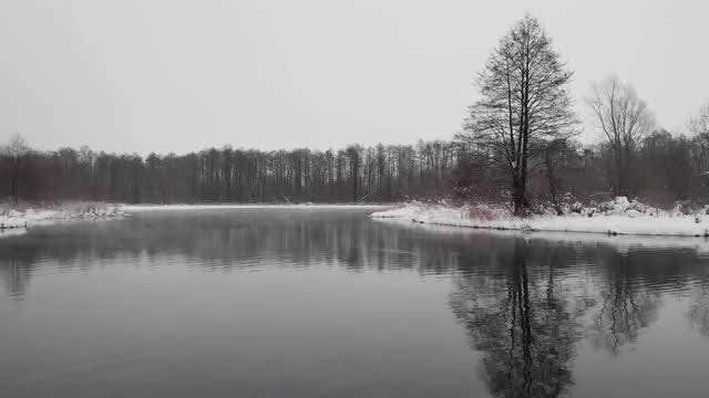 Aerial Of Winter Lake: Stock Video
