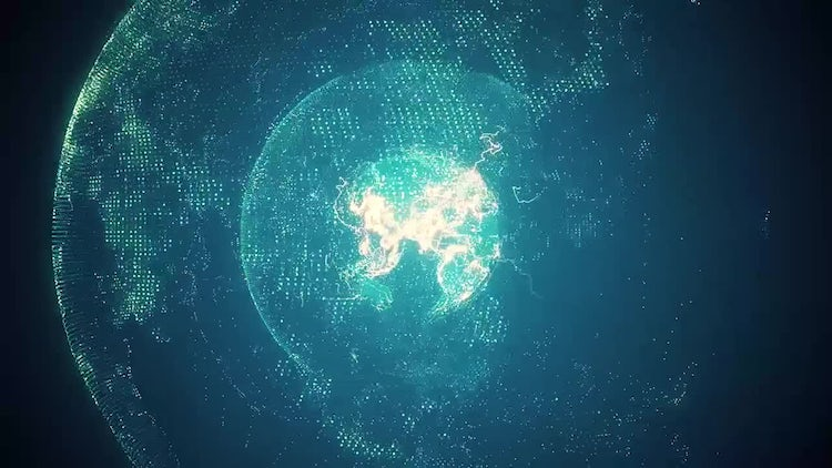 Blue Rotating Planet Earth: Motion Graphics