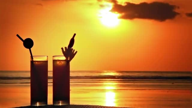 Cocktails At Sunset: Stock Video