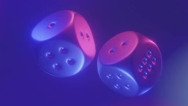 Shiny Rotating Dice Cubes Loop: Stock Motion Graphics