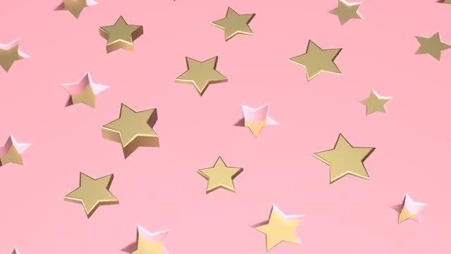 Golden Stars Over Pink: Stock Motion Graphics
