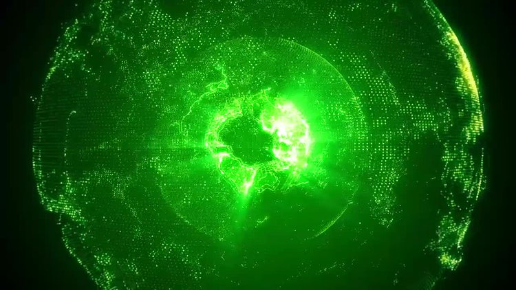 Rotating Green Planet Earth: Motion Graphics