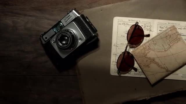 Vintage Camera And Sunglasses: Stock Video