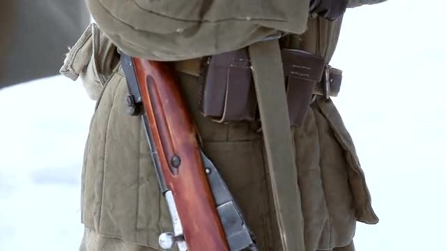 Soldier With Old Rifle: Stock Video