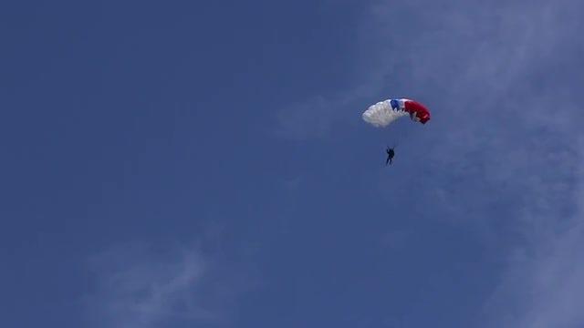 Parachutist In The Sky: Stock Video