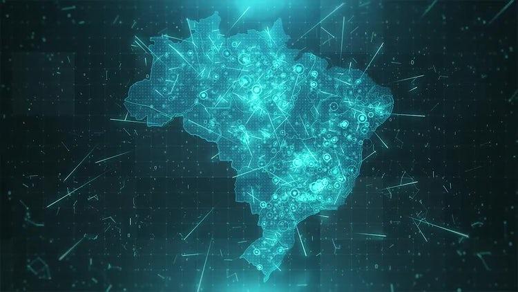 Brazil Map Background: Stock Motion Graphics
