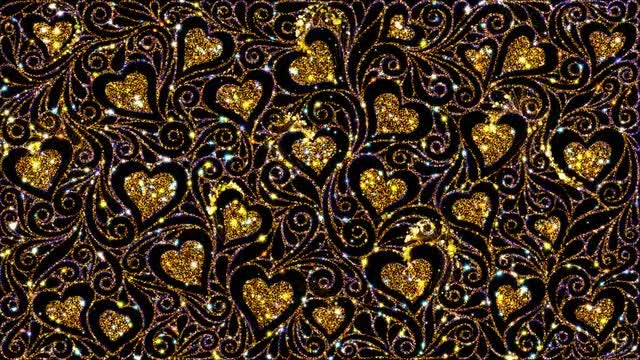 Golden Hearts Magical Ornate Pattern: Stock Motion Graphics