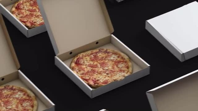 Boxed Pizza On Conveyor Loop: Stock Motion Graphics