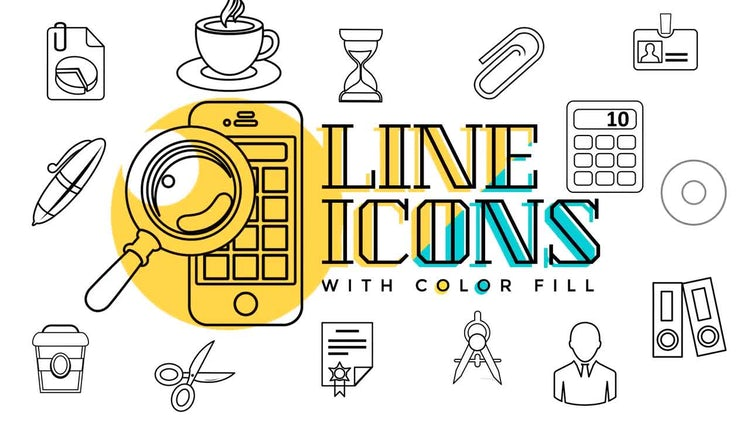 Business & Office Line Icons: Stock Motion Graphics