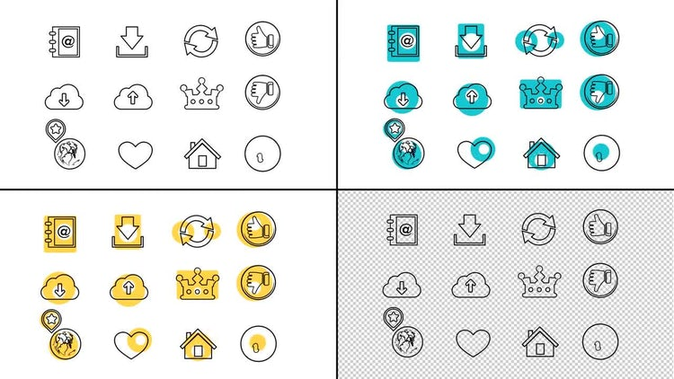 72 Business Line Icons: After Effects Templates
