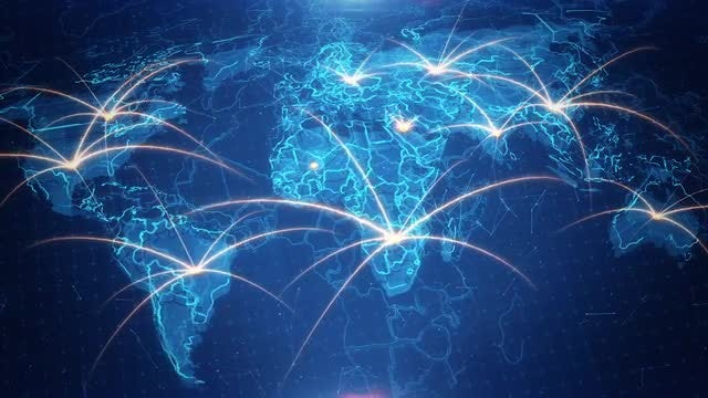 World Map Background  Connections 4K: Stock Motion Graphics