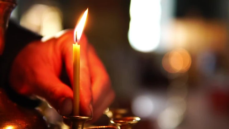 Placing A Candle On Stand: Stock Video