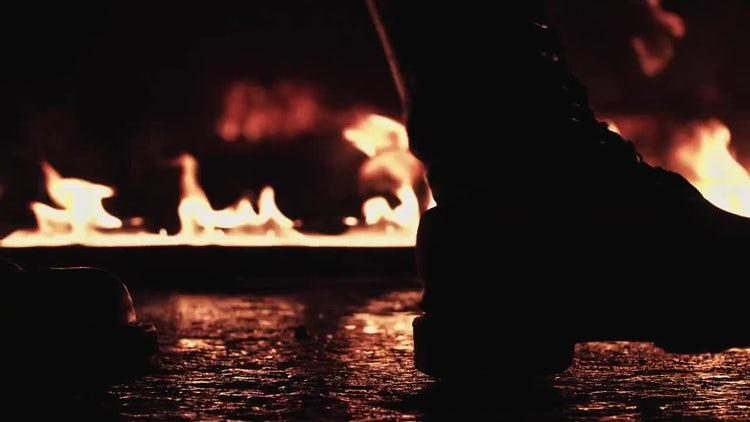 Walking Through Fire: Stock Video