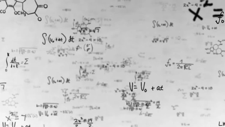 White Math Equations and Formulas: Motion Graphics