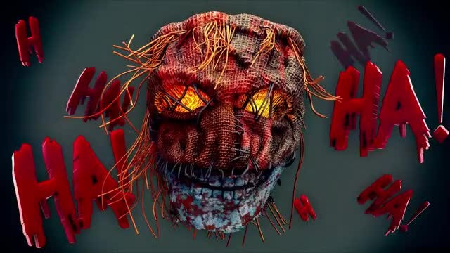 Laughing Scary Scarecrow VJ Loop: Stock Motion Graphics