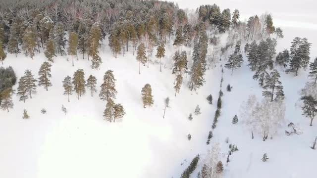 Aerial Of Snowy Hill: Stock Video