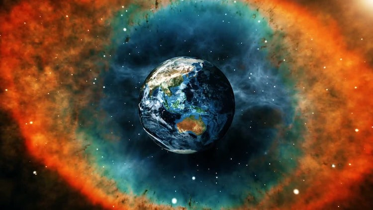 Earth In Space On Nebula Background: Stock Motion Graphics
