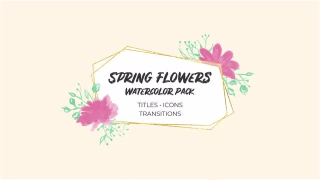 Spring Flowers Watercolor Pack: Premiere Pro Templates