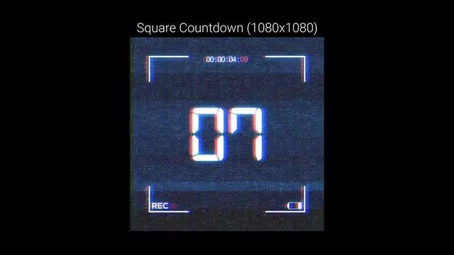 Hologram Square Countdown: Stock Motion Graphics