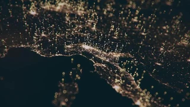 Night Map Of Central Europe: Stock Motion Graphics