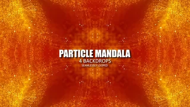 Gold On Red Particle Mandalas: Stock Motion Graphics