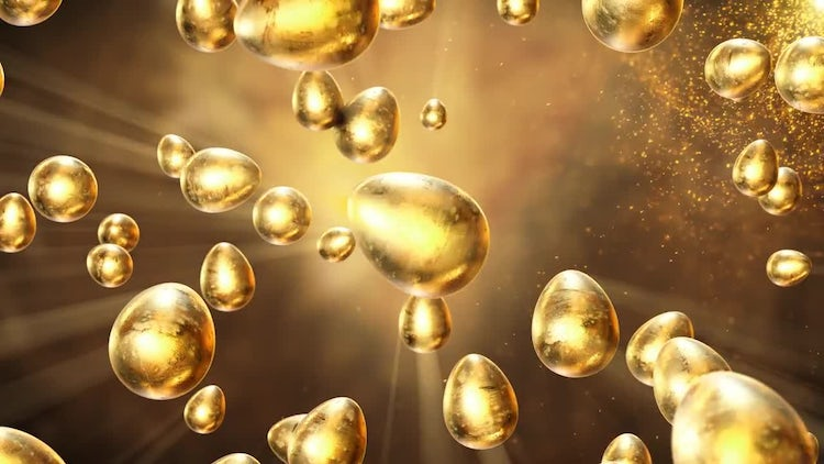 Golden Eggs In The Air: Stock Motion Graphics