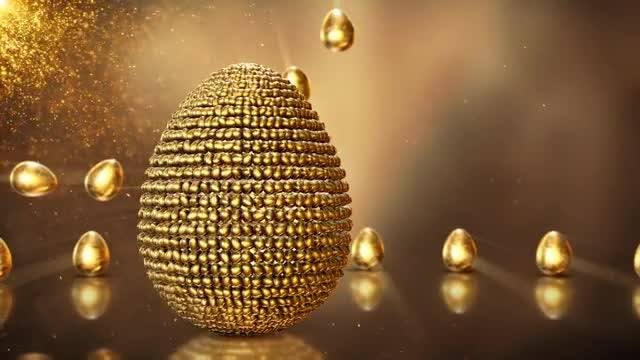 Golden Easter Background Loop: Stock Motion Graphics