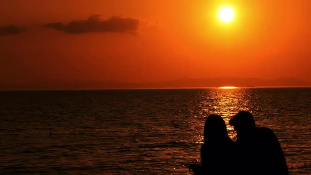 Silhouette Of Couple At Beach: Stock Video