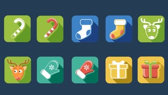 Flat Style Christmas And New Year Icons : Motion Graphics