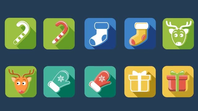 Flat Style Christmas And New Year Icons : Stock Motion Graphics