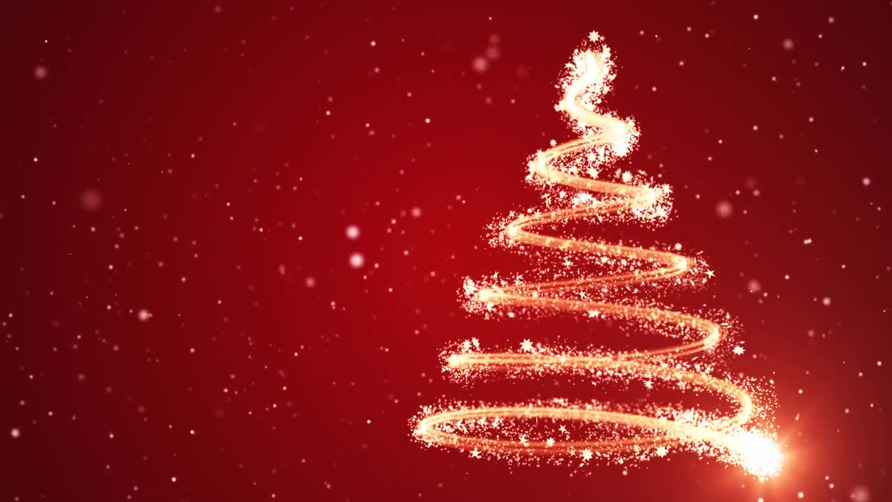 Christmas Tree Red Background Stock Motion Graphics