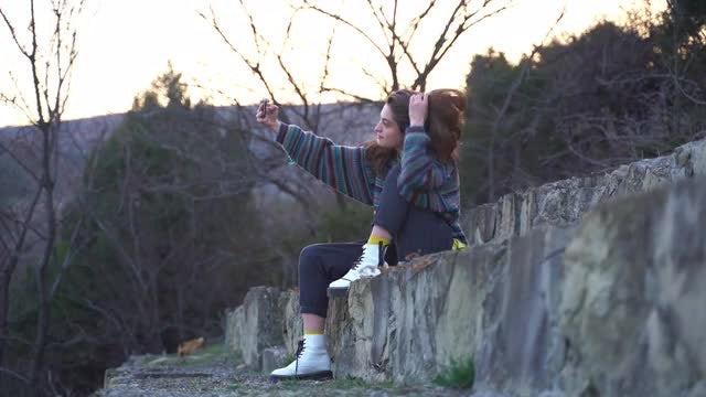 Girl Takes Selfie: Stock Video