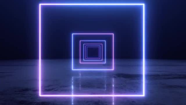 VJ Abstract Neon Square Tunnel: Stock Motion Graphics