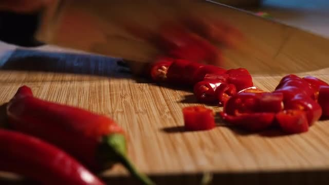 Chopping Fresh Chilli Peppers: Stock Video