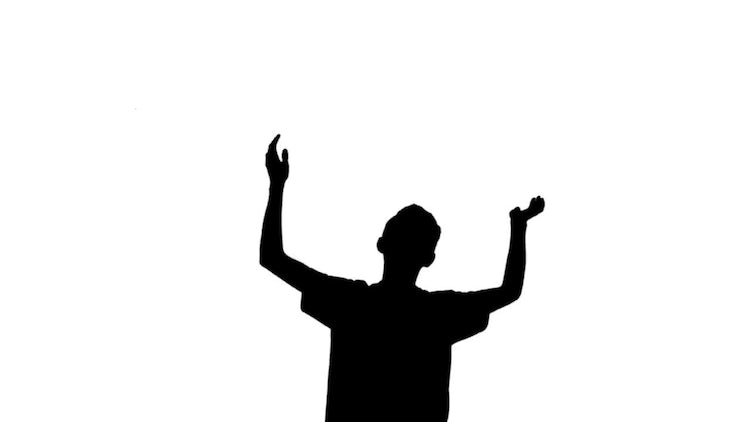 Young Man Applause Silhouette: Stock Motion Graphics