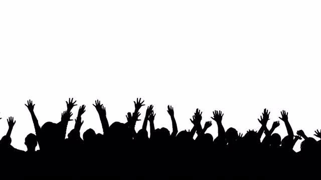 Silhouette Crowd Jumping: Stock Motion Graphics