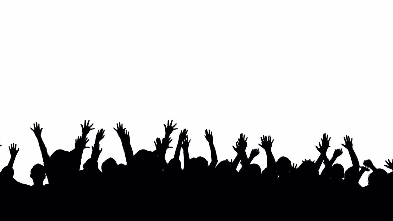 silhouette crowd jumping stock motion graphics motion