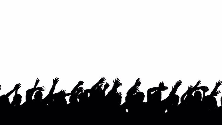 Silhouette Crowd Wave: Stock Motion Graphics