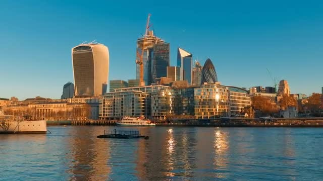 City Of London During Sunrise: Stock Video