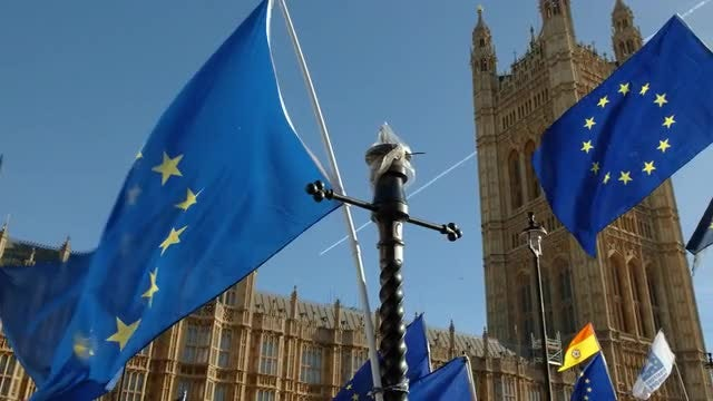 EU Flags Waving In Westminster, London: Stock Video