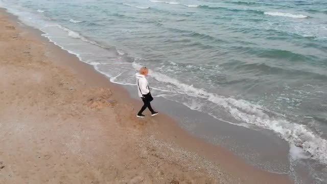 Walking On The Shore: Stock Video
