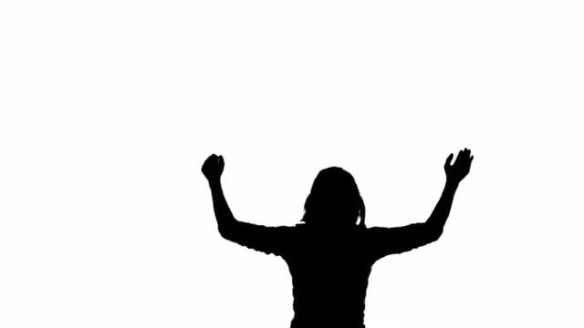 Silhouette Woman Applause: Stock Motion Graphics