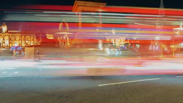 London Night Traffic Time Lapse: Stock Video