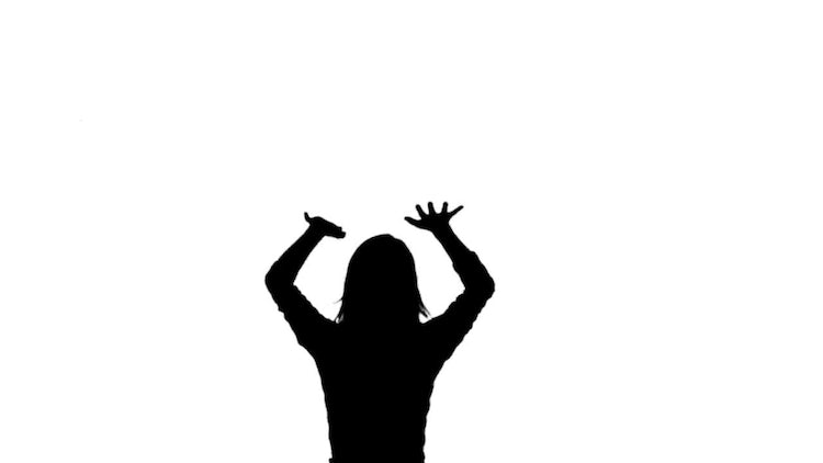 Silhouette Woman Jumping: Stock Motion Graphics