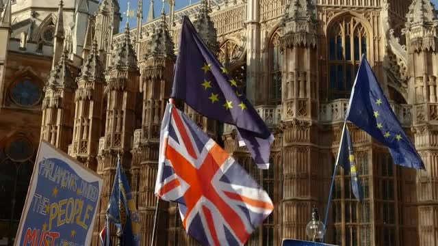 EU And UK Flags: Stock Video