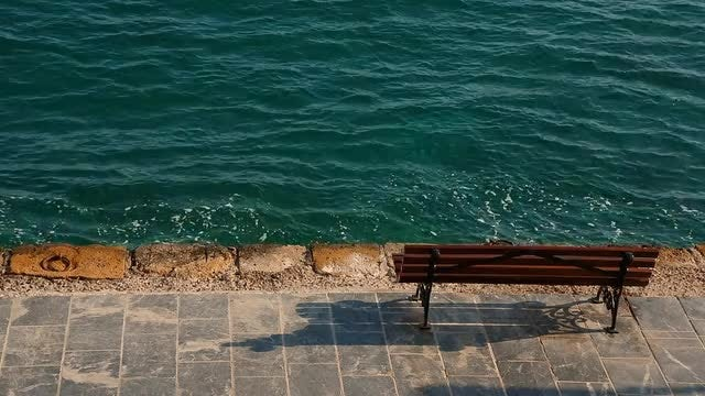 Empty Bench By The Sea: Stock Video